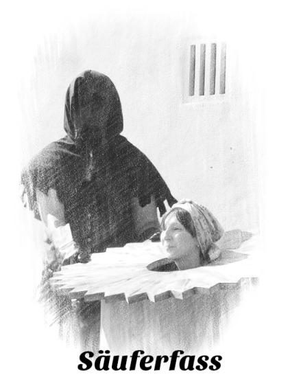 Foltergerät Folterwerkzeug Henker Inquisition Säuferfass Scharfrichter